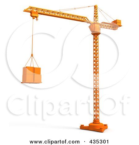 450x470 Royalty Free (Rf) Clipart Illustration Of A 3d Orange Tower Crane