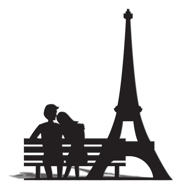 600x600 Eiffel Tower And Bench Silhouette