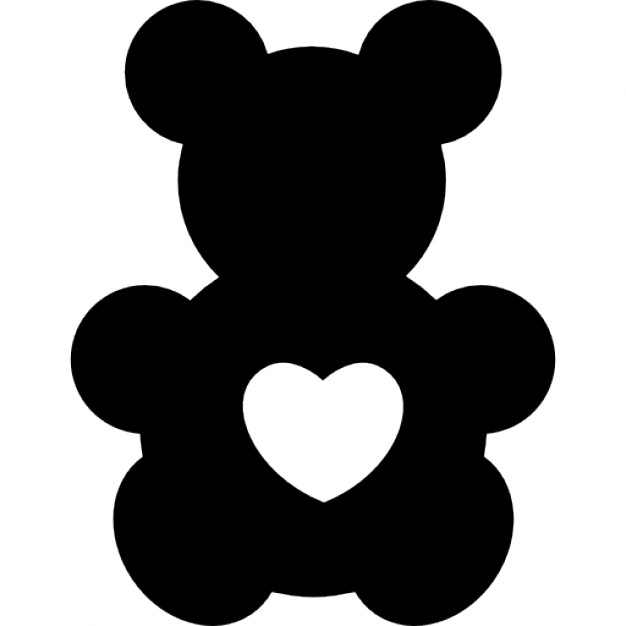 626x626 Bear Toy Silhouette With A Heart Shape Icons Free Download