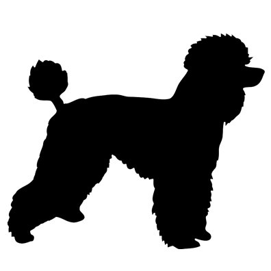 396x396 Poodle Oval Decal
