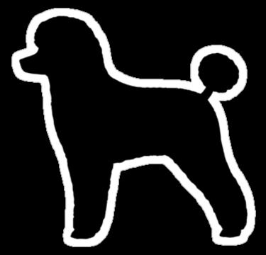 375x360 Black Toy Poodle Silhouette Waterproof Die Cut Sticker Dogs