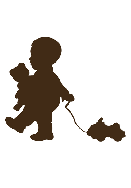427x613 Pull Toy Play Silhouette Art Personalized By Dish And Spoon