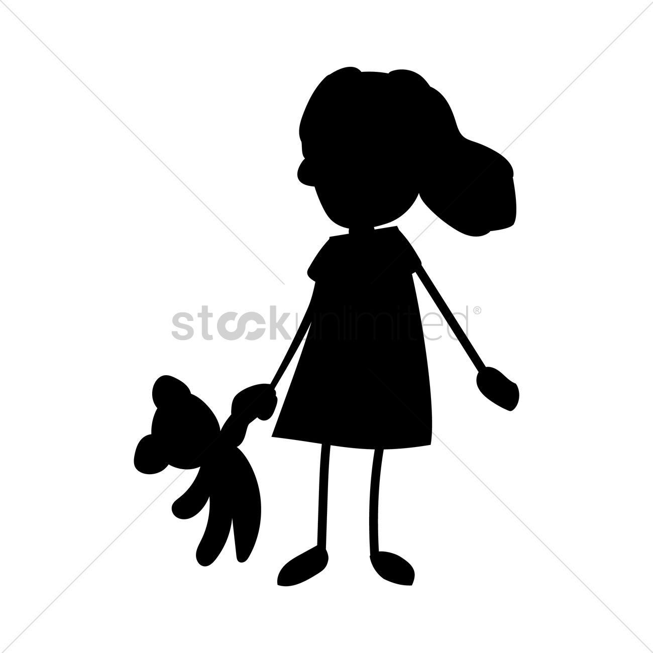1300x1300 Silhouette Of Girl Holding Toy Vector Image