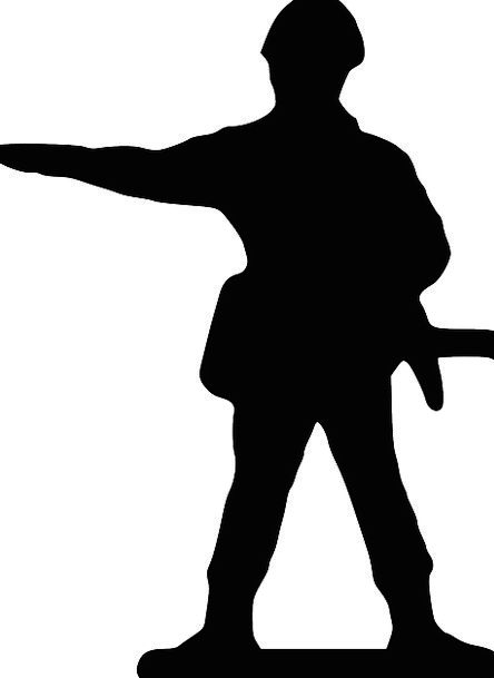 444x609 Soldier, Fighter, Attitude, Silhouette, Outline, Stand, Point