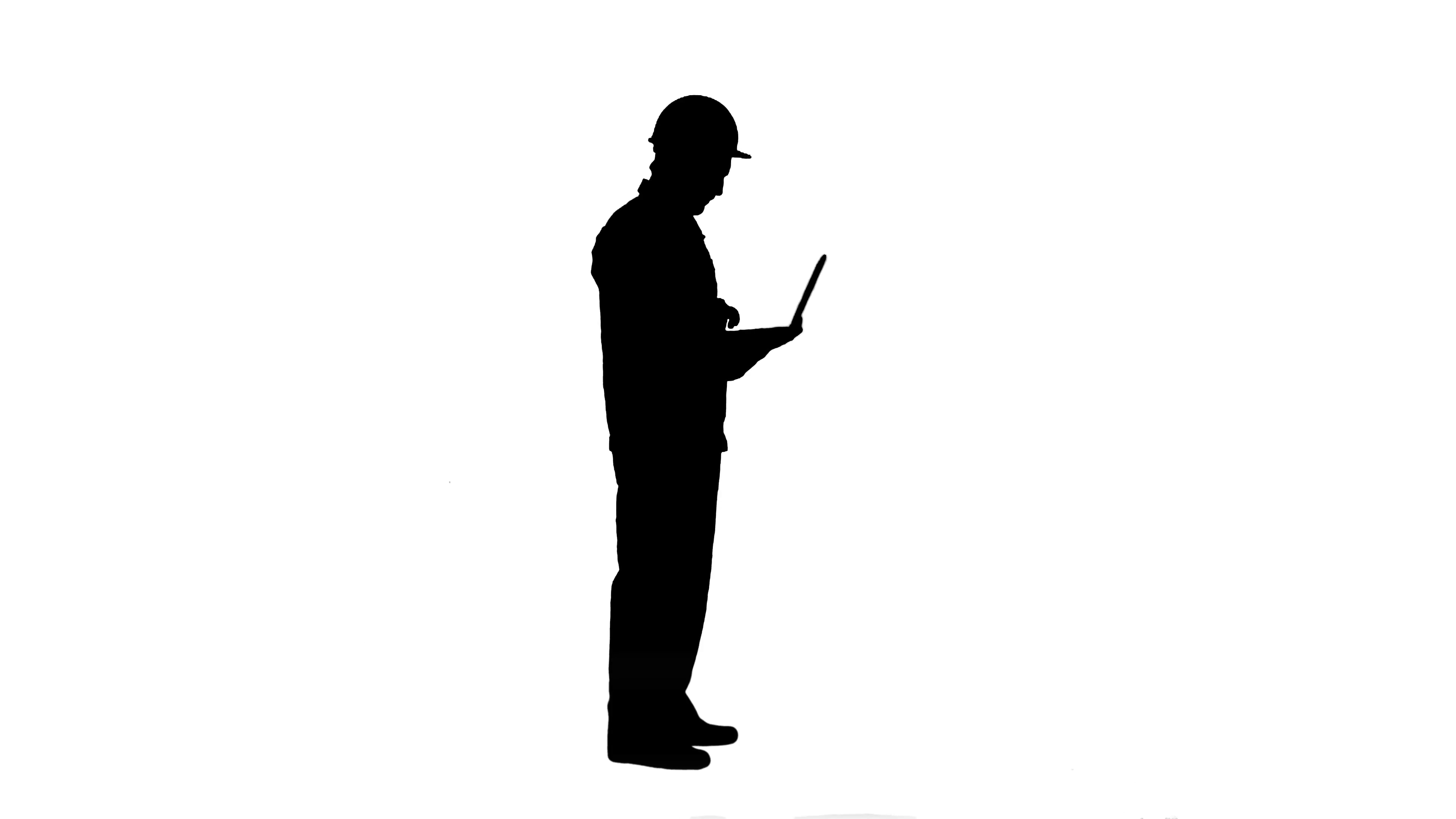 3840x2160 Silhouette Attractive Engineer Using Laptop Track Matte Stock
