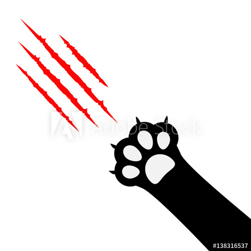 500x500 Black Cat Paw Print Leg Foot. Bloody Claws Scratching Animal Red