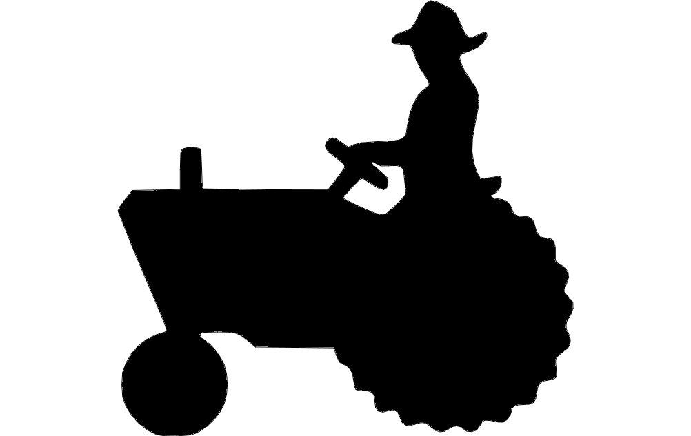 1002x633 Tractor Silhouette 2 Dxf File Free Download