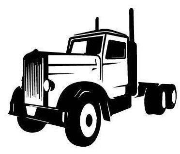 372x317 SEMI TRUCK Tractor Trailer outline laptop cup decal SVG Digital