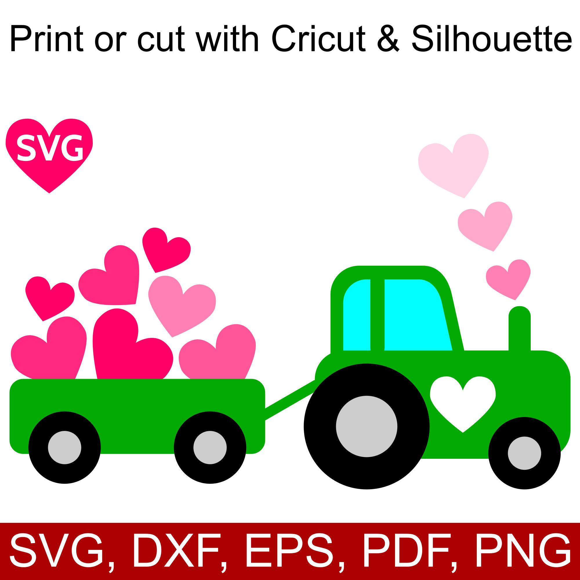 2000x2000 A cute Love Tractor with Hearts SVG design for Valentine#39s Day