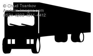 300x180 Clipart Illustration of Big Rig Semi truck In Silhouette