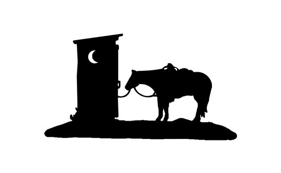570x350 Outhouse With Trail Riding Western Horse Decal Vinyl Trailer