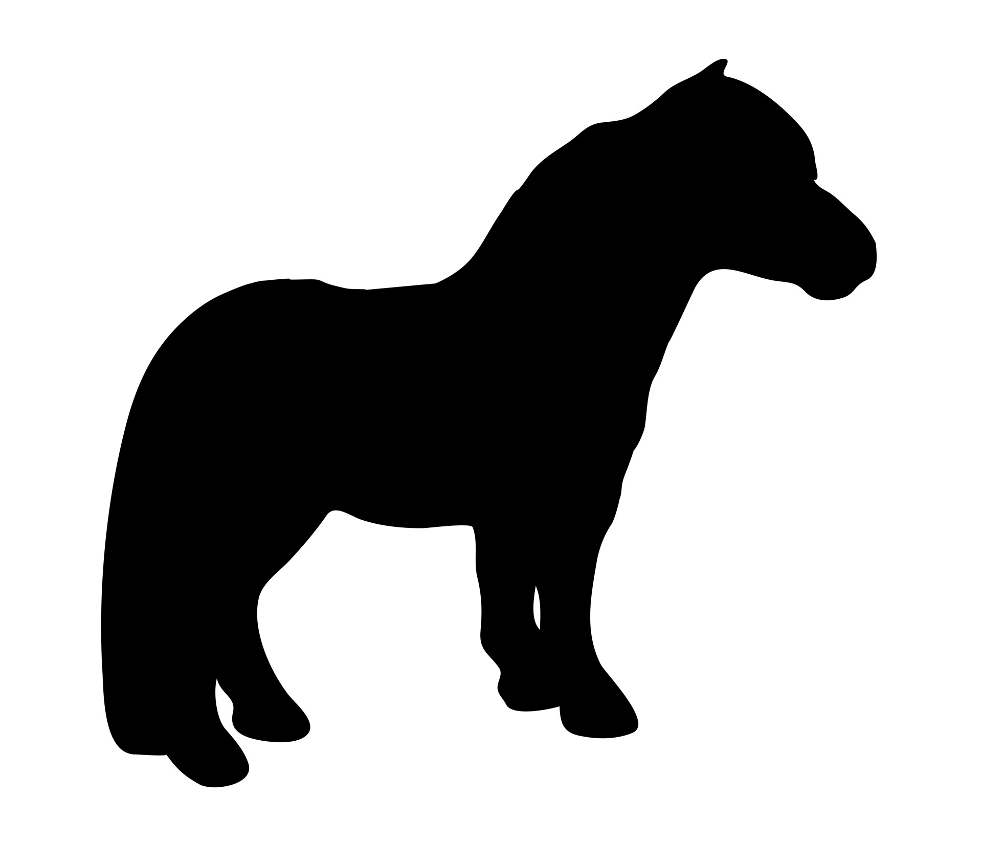 1920x1646 Black Pony Silhouette Free Stock Photo