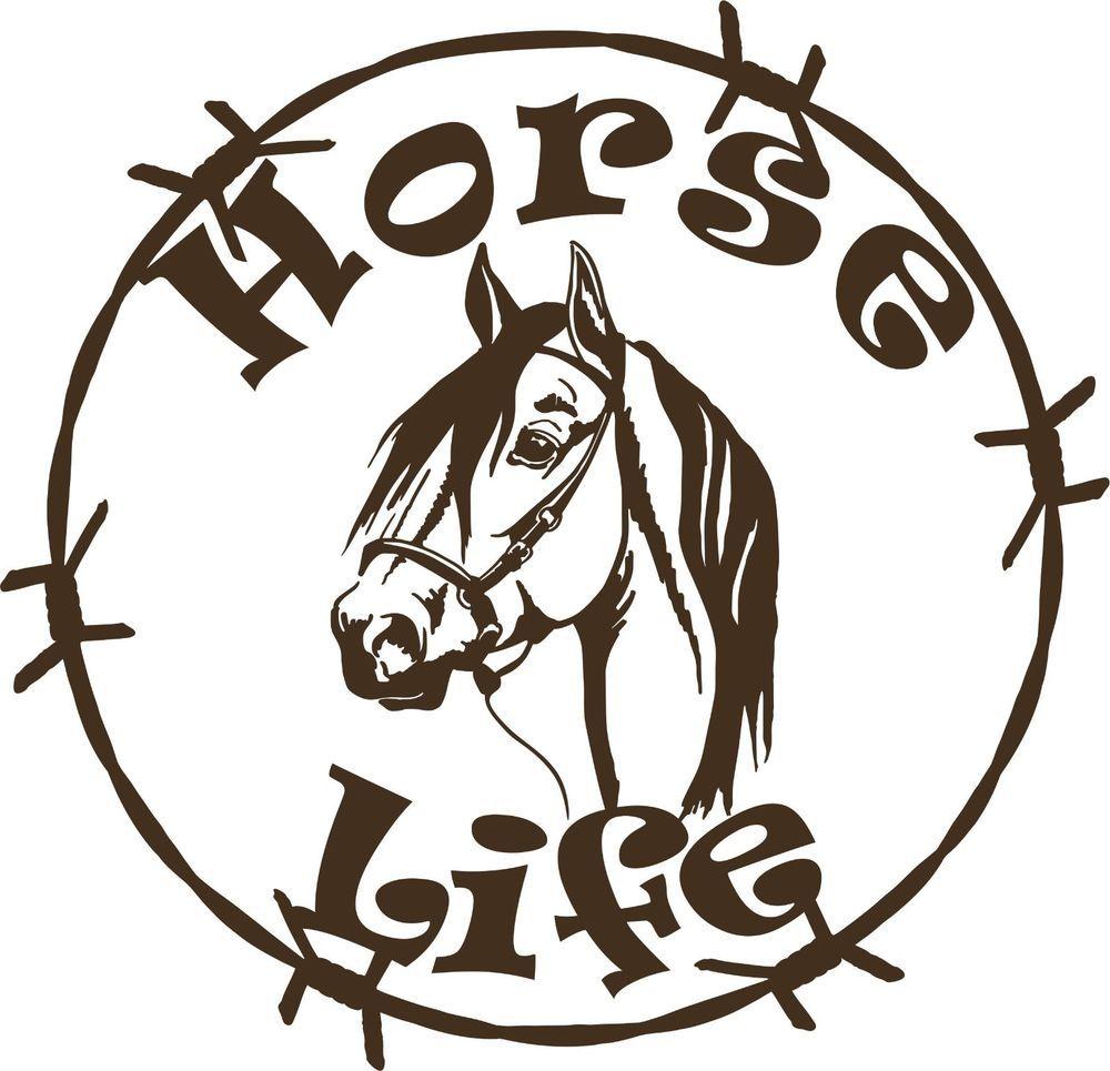 1000x965 Horse Life Barb Wire Animal Farm Car Truck Trailer Window Vinyl