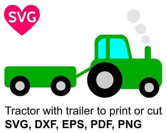 570x453 Tractor With Trailer Svg File For Cricut Amp Silhouette, Farm
