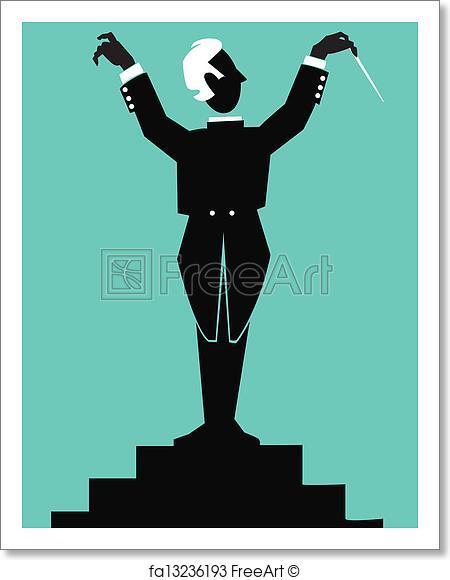450x580 Freert Print Conductor. Silhouette Stylized Figure
