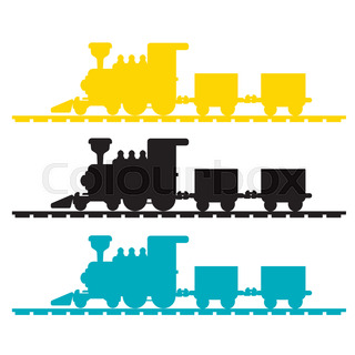 320x320 Set Isolated Trains With Freight And Passenger Car Silhouette