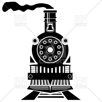 400x400 Old Train Silhouette Front View Royalty Free Vector Clip Art Image