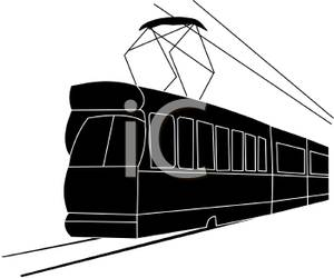 300x250 Silhouette Of An Electric Passenger Train