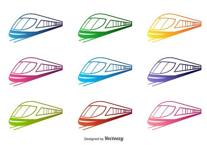 700x490 Colorful Train Vector Silhouettes