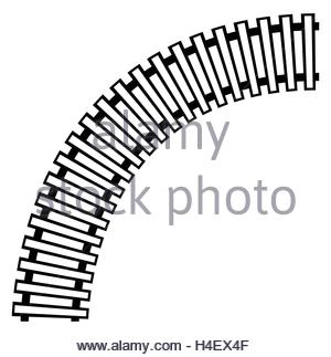 300x323 Curving Train Track, Rail Track Silhouette Isolated Stock Vector