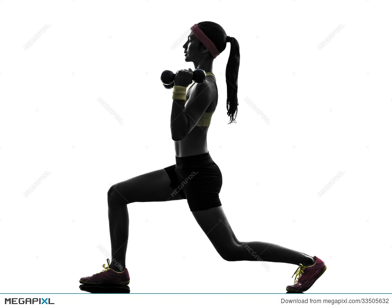 800x628 Woman Exercising Fitness Workout Weight Training Silhouette Stock