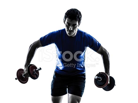 588x439 Man Exercising Weight Training Silhouette Stock Photos