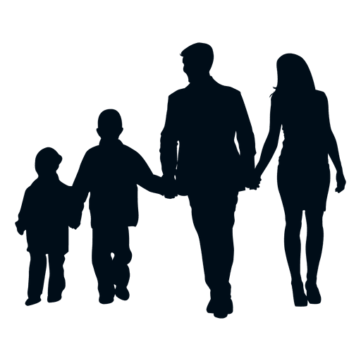 512x512 Family With Two Children Silhouette