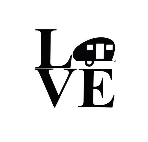 480x463 Vinyl Decal, Rv, Teardrop Camper Silhouette Love Rv, Travel
