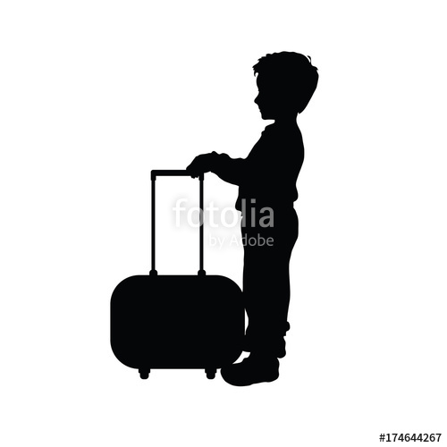 500x500 Child Boy Silhouette With Travel Bag Illustration Stock Image