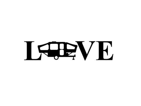 480x361 Vinyl Decal, Popup Camper Trailer Silhouette Love Vinyl Decal