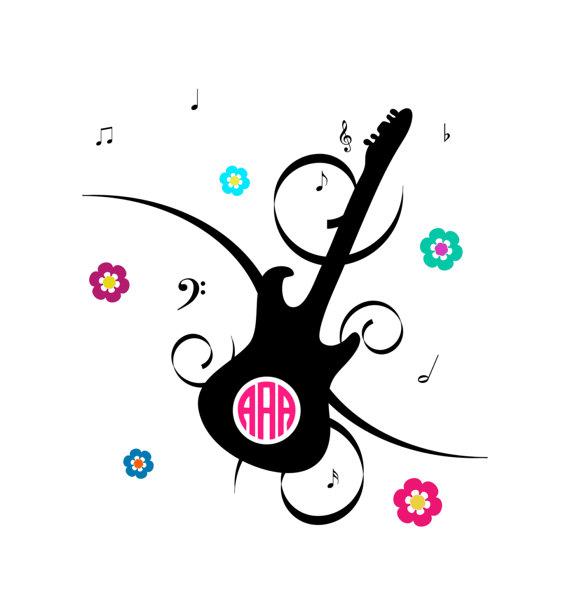 570x614 Flourish Guitar Svg Monogram Frame Files Flower Treble Clef Guitar
