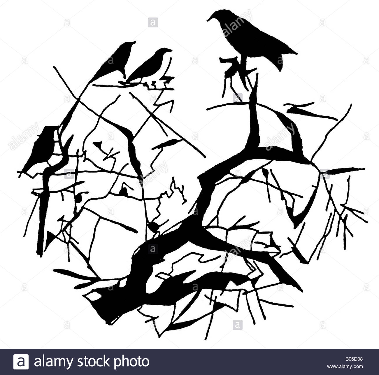 1300x1286 Hand Drawn, Pen And Ink Image Of Birds In A Tree Silhouette Stock