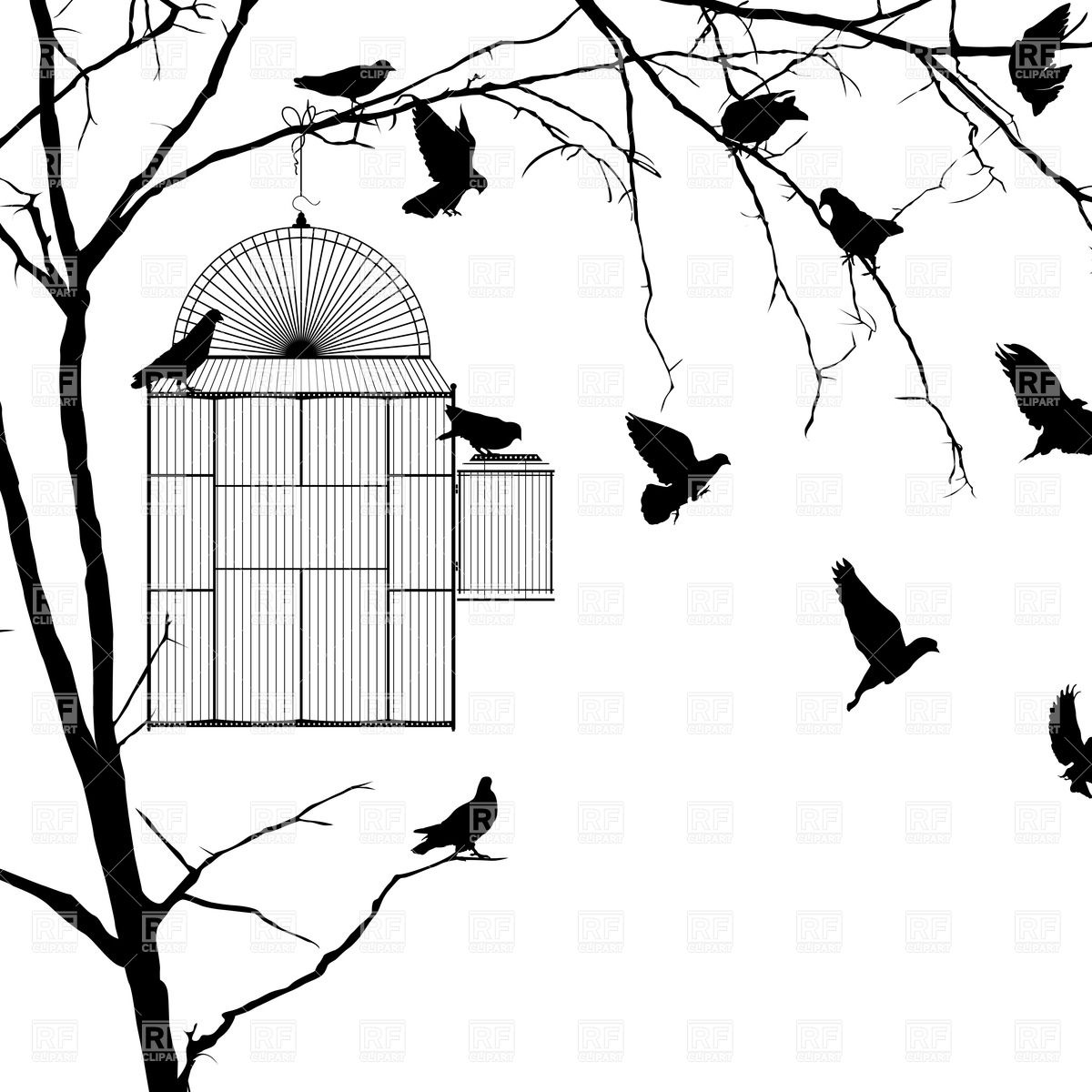 1200x1200 Silhouettes Of Birds And Open Cage On The Branch Royalty Free