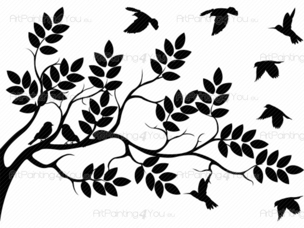 1024x768 Wall Decals Tree Amp Birds (Vdf1135en)