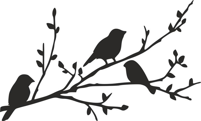 800x480 Birds On Branch Silhouette Stencil Dxf File Free Download