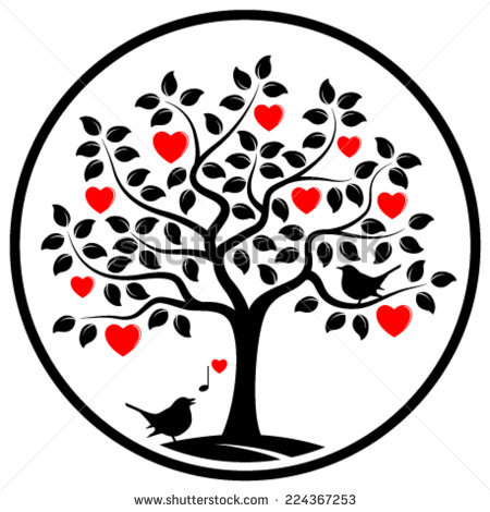 450x470 Clipart Of Love Birds On A Tree Branch With A Swing Collection