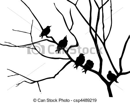 450x357 Silhouette Starling On Branch Tree Eps Vectors