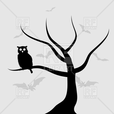 400x400 Owl Sits On Tree Branch Royalty Free Vector Clip Art Image