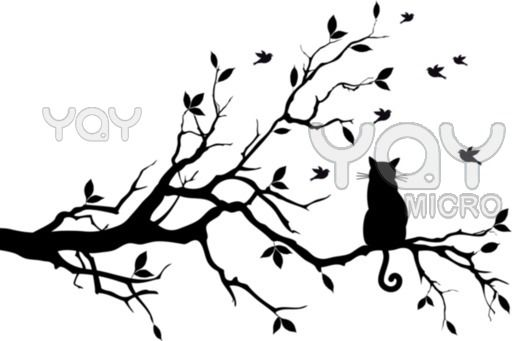 512x341 Cat On Tree, Vector Silhouettes Tree Silhouettes