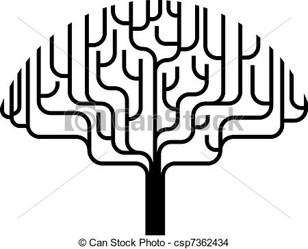 450x364 Abstract Tree Silhouette Illustration. Abstract Stylised Eps