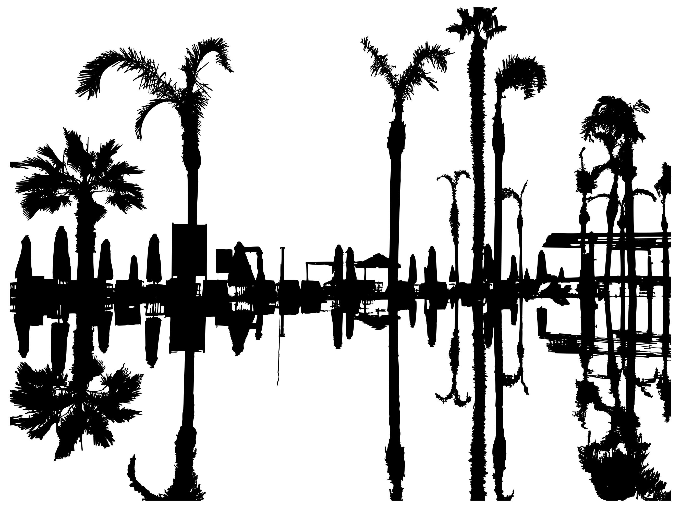2668x1993 Palm Trees Reflection Silhouette Clipart