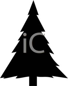239x300 Black And White Silhouette Of A Christmas Tree Clipart Picture