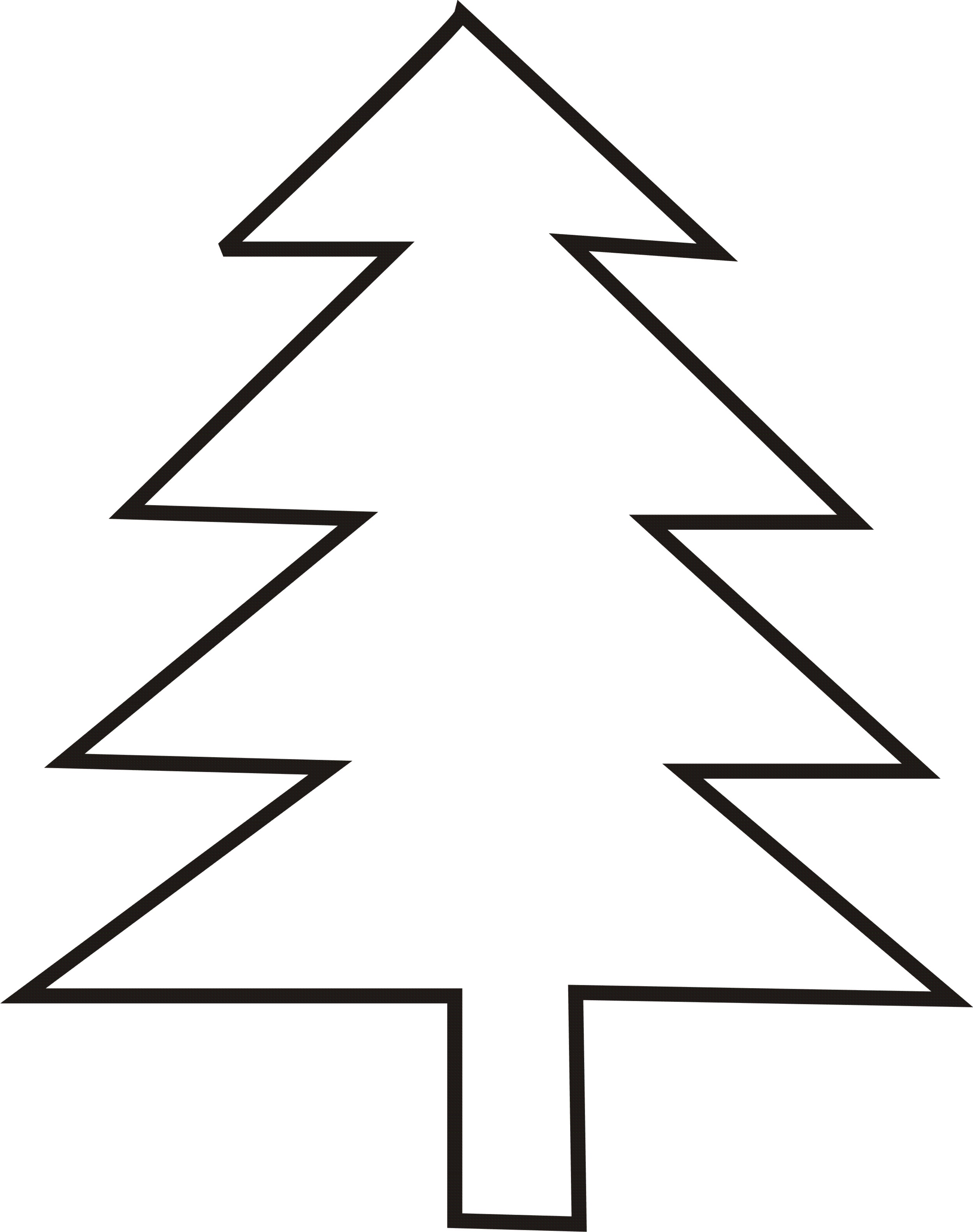 2500x3163 Christmas Tree Outline Free Download Clip Art Clipart Silhouette