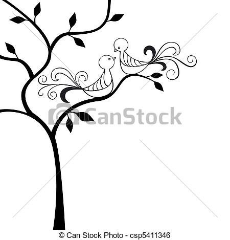 450x469 Silhouette Tree With Two Love Birds Clip Art Vector