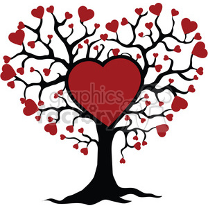 300x300 Royalty Free Tree Of Life And Love Red Hearts 392567 Vector Clip