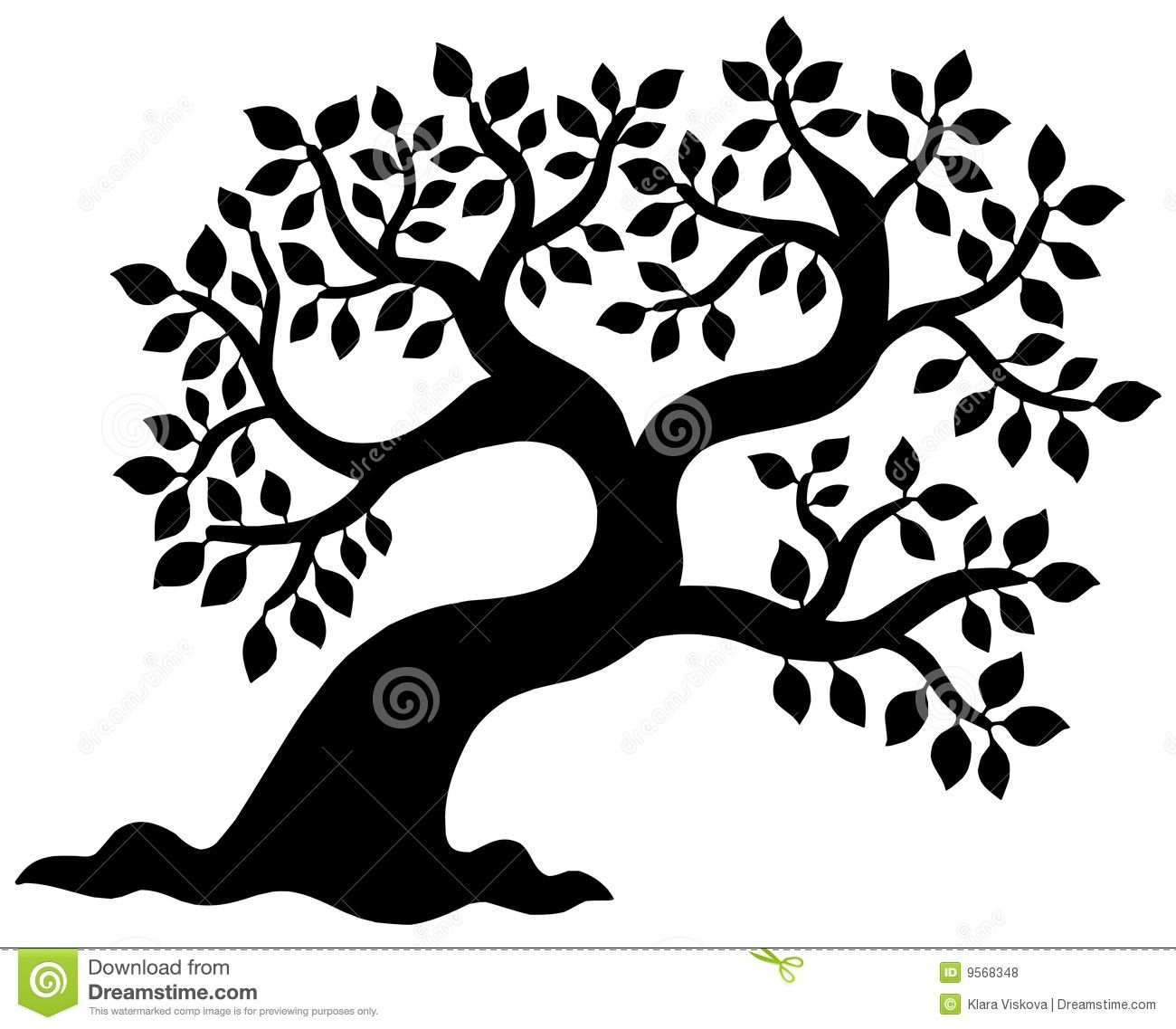 1300x1137 Simple Tree Silhouette Leafy Tree Silhouette Royalty Free Stock