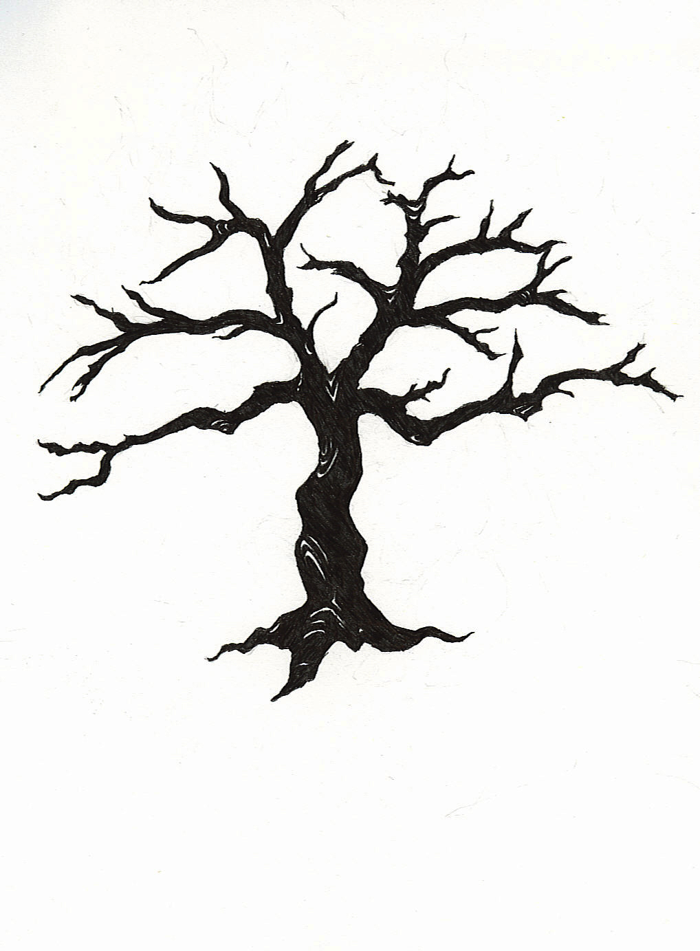 1018x1383 Clipart Of Dead Tree Creepy Pencil And In Color