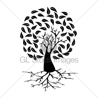 325x325 Black Tree With Roots Silhouette Gl Stock Images