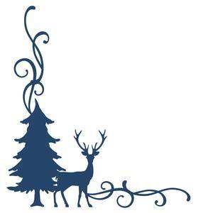 300x300 Pine Tree Amp Deer Corner Flourish Border Flourish Border, Pine