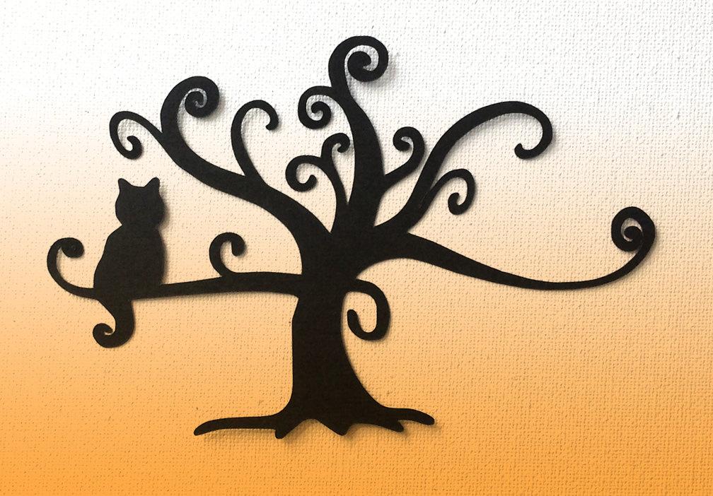 1008x702 Cat In Swirl Tree Die Cut Silhouette Great For Card Making Set